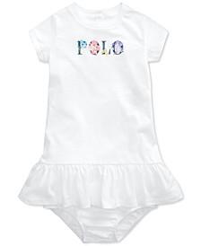 Ralph Lauren Baby Girls Floral-Logo Cotton Jersey Dress