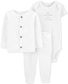 Baby Boys or Girls 3-Piece Bodysuit, Cardigan & Pants Set
