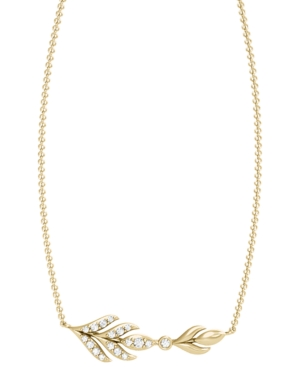 Diamond 1/10 ct. t.w. Laurel Leaf Necklace in 10K Yellow Gold