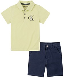 Toddler Boys Polo with Twill Short Set, 2 Piece