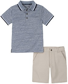 Toddler Boys Knit Polo with Twill Short Set, 2 Piece