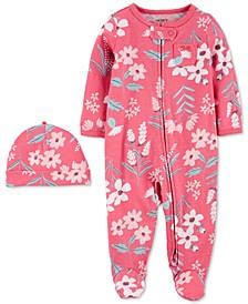 Baby Girls 2-Pc. Cap & Zip-Up Sleep & Play Set