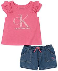 Baby Girls Cotton T-Shirt & Denim Shorts Set