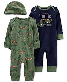 Baby Boy 3-Piece Jumpsuits & Cap Set