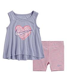 Little Girls Dri-Fit Tank Top and Biker Shorts, Set of 2