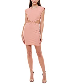 Juniors' Ribbed Side-Cutout Bodycon Dress