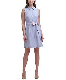 Sleeveless Scallop-Detail Shirtdress