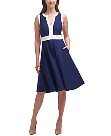 Two-Tone Sleeveless A-Line Dress