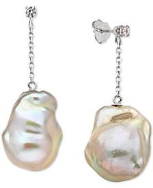 Baroque Cultured Freshwater Pearl (13-15mm) & Diamond (1/10 ct. t.w.) Drop Earrings in 14k White Gold