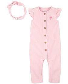 Baby Girl 2-Pc. Crinkle Jersey Jumpsuit & Headband