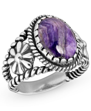 by Carolyn Pollack Sterling Silver Rope and Floral Ring in Charoite