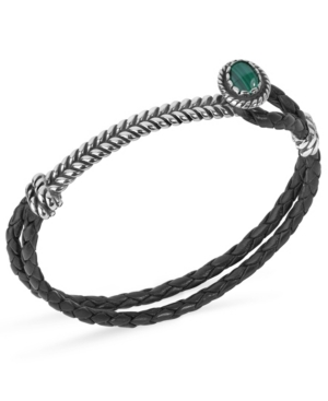 by Carolyn Pollack Sterling Silver Gemstone Silver Hook and Loop Black Leather Bracelet in Malachite