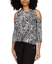 Petite Zebra-Print Cold-Shoulder Top