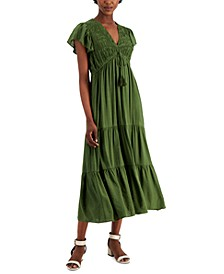 Smocked-Top Tiered Maxi Dress
