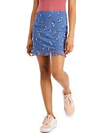 Juniors' Printed Mesh Mini Skirt
