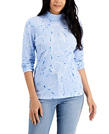 Petite Cotton Marble-Print Mock-Neck Top, Created for Macy's