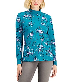 Petite Floating Fauna Mock-Neck Top, Created for Macy's