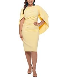 Plus Size Ruched Cape Dress