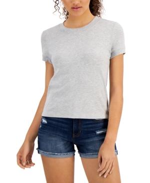 Juniors' Ribbed Ringer T-Shirt