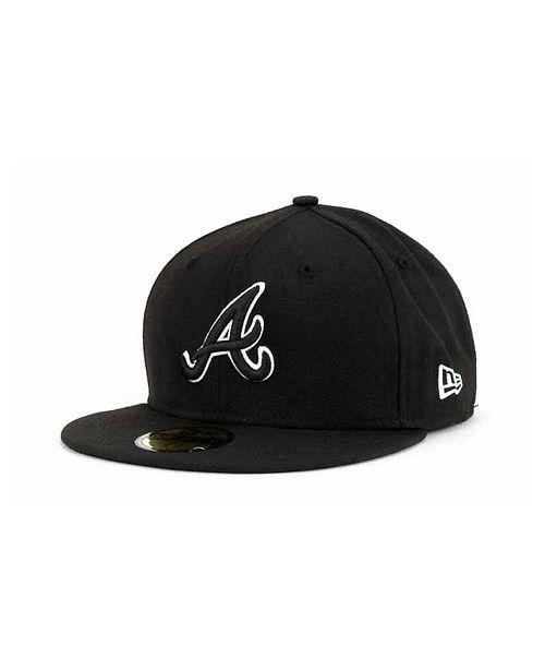new product bc257 91dd9 ... New Era Atlanta Braves Black and White Fashion 59FIFTY Cap ...