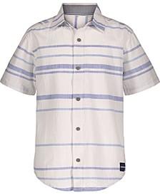 Big Boys Striped Slub Short Sleeve Shirt