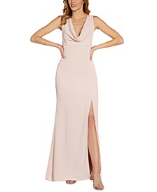 Cowl-Neck High-Slit Gown