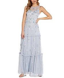 Beaded Tiered Gown