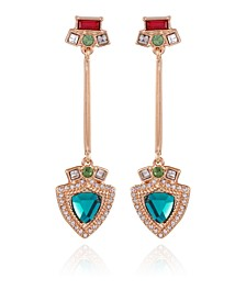 Gold-tone Crystal And Resin Linear Earring