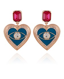 Gold-tone Crystal And Resin Heart Drop Earring