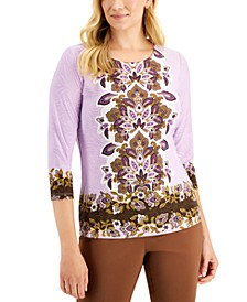 JM Collection Embroidered Floral-Print Top, Created for Macy's
