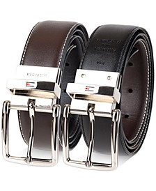 Men's Reversible Textured Feather-Edge Logo Belt, Created for Macy's