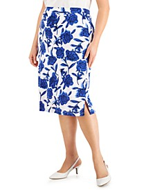 Plus Size Floral-Print Skirt