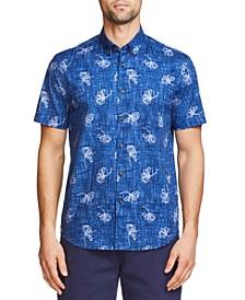Men's Slim Fit Cotton Stretch Short Sleeve Button Down Shirt