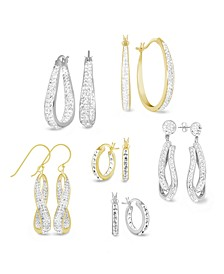 Crystal Hoop Earring Collection in Fine Silver Plate, Gold Plate or Rose Gold Plate
