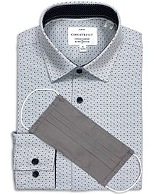 Con.Struct Men's Slim-Fit Performance Stretch Interlocked Geo Print Dress Shirt and Free Face Mask, Created for Macy's