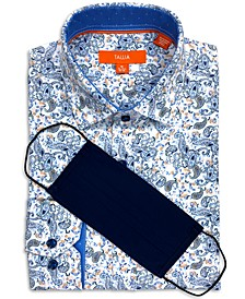 Men's Slim-Fit Performance Stretch Paisley Print Dress Shirt and Free Face Mask