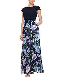 Cap-Sleeve Floral-Print Maxi Dress