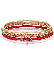 Gold-Tone 4-Pc. Set Crystal Charm & Cord-Wrapped Bangle Bracelets, Created for Macy's