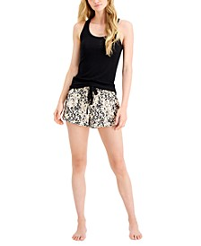 Ribbed Tank Top & Printed Pajama Shorts, Created for Macy's
