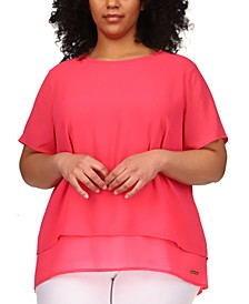 Plus Size Layered Split-Back Top