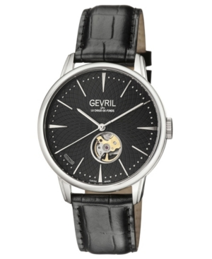 Men's Mulberry Swiss Automatic Black Leather Strap Watch 42mm