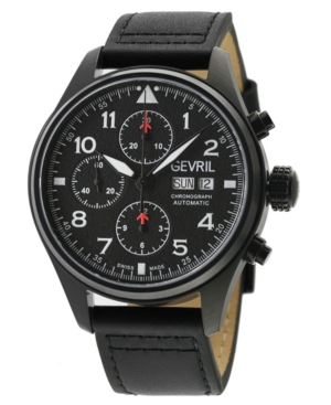 Men's Vaughn Swiss Automatic Chronograph Black Leather Strap Watch 42mm