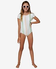 Big Girls Beach Stripe Cap Sleeve One Piece