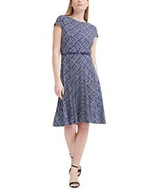 Petite Belted Plaid Dress
