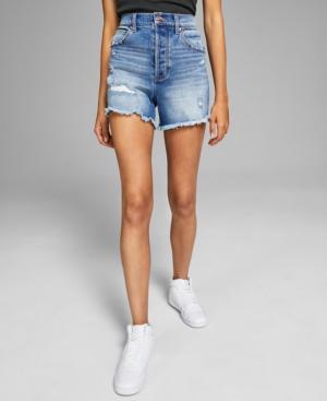 Women's Ripped High-Rise Denim Shorts