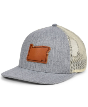 Local Crowns Oregon Heather Leather State Patch Curved Trucker Cap