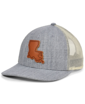 Local Crowns Louisiana Heather Leather State Patch Curved Trucker Cap
