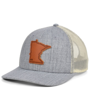 Local Crowns Minnesota Heather Leather State Patch Curved Trucker Cap