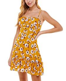Juniors' Floral-Print Fit & Flare Dress