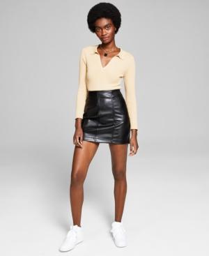 Women's Faux-Leather Mini Skirt